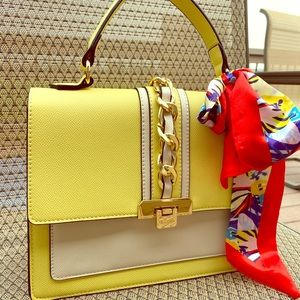 ALDO yellow faux leather handbag. NWT